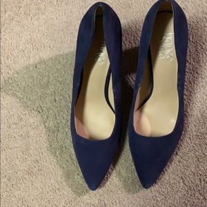 Marc Fisher suede navy blue high heel shoes